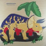 Triceratops dinosaur wooden puzzle.