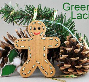 Handmade gingerbread man Christmas ornament.