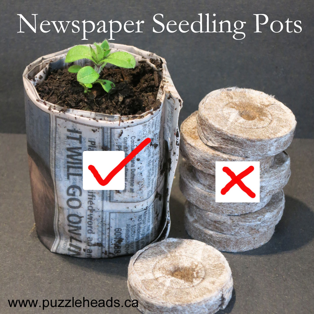 DIY newspaper seedling pots