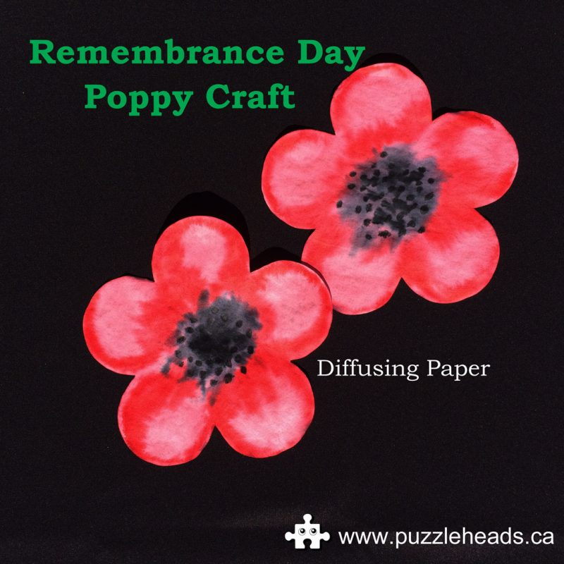 Roylco color diffusing paper easy Remembrance Day poppy craft.