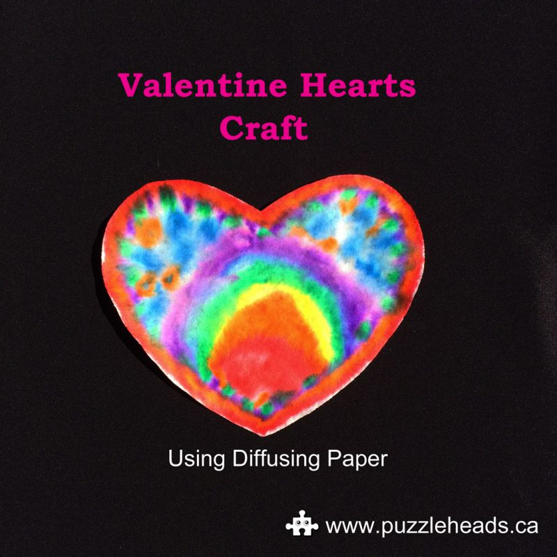 Roylco color diffusing paper hearts easy Valentine craft.