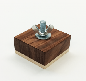 Montessori bolt block wing nut in exotic wood.