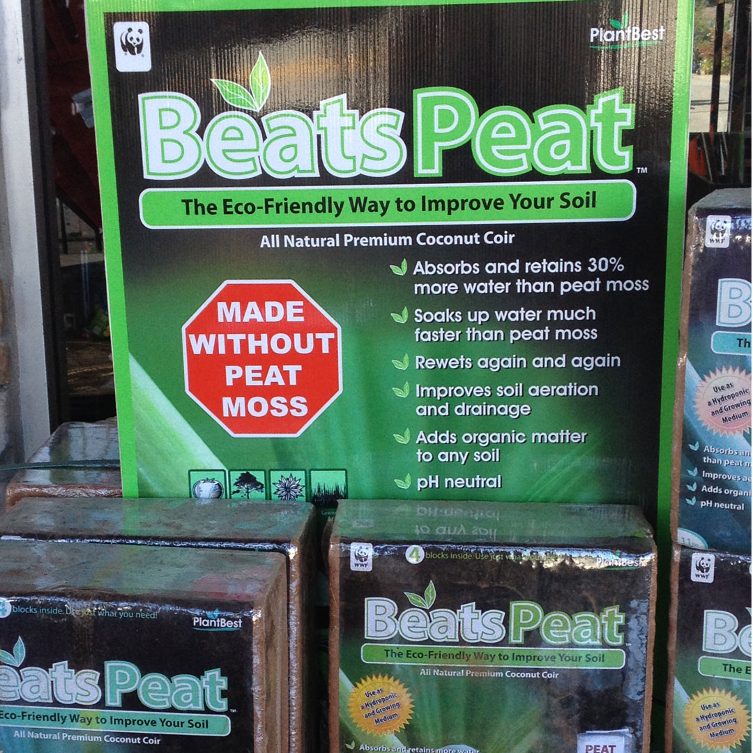 Compressed coir bales by Beats Peat.