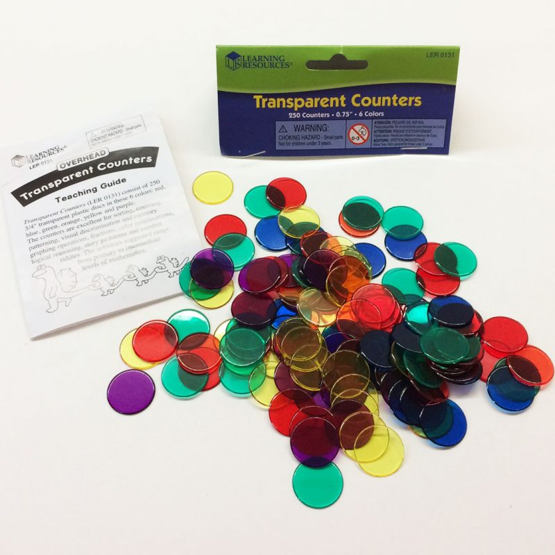 Transparent counters packaging with included guide.