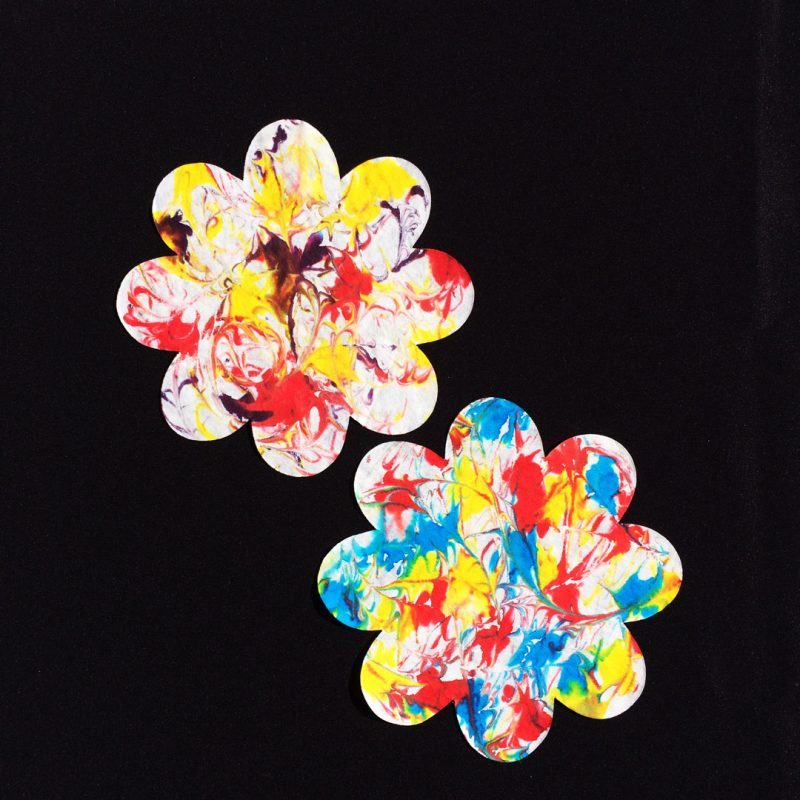 Roylco diffusing paper flowers made with shaving cream and food color.