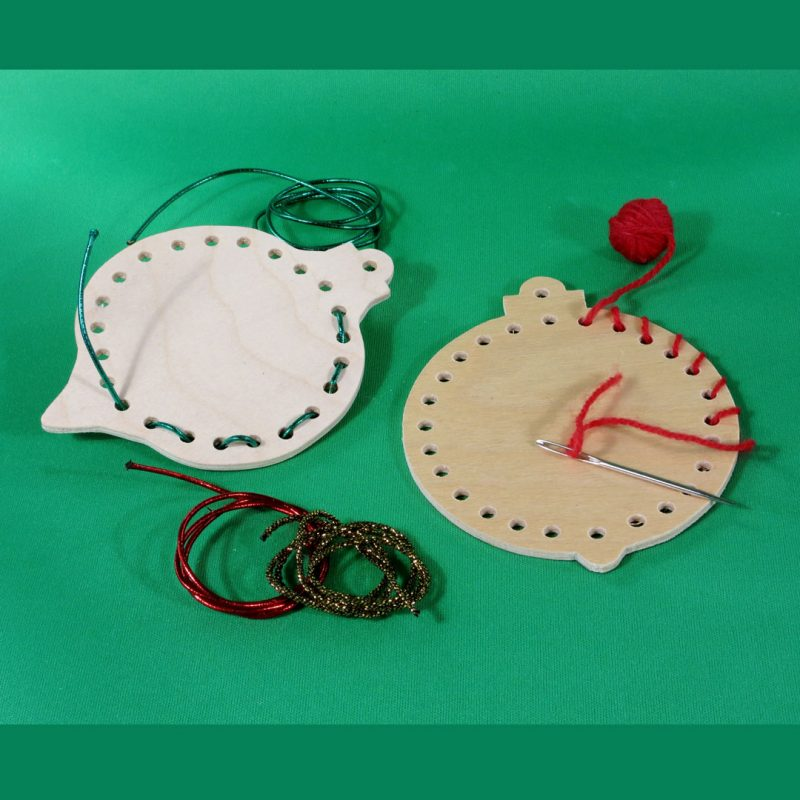 Handmade wooden round-and-shaped-lacing-ornament