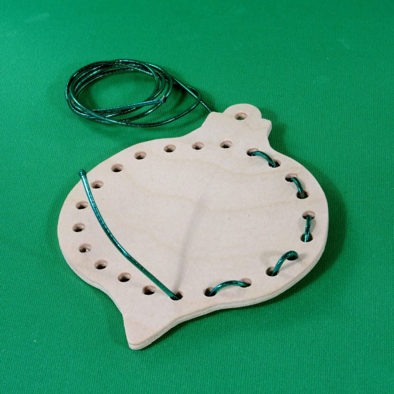 Handmade wooden shaped -lacing-ornament-with-cord