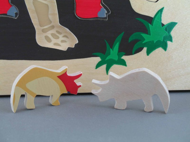 Wooden Triceratops Dinosaur Puzzle