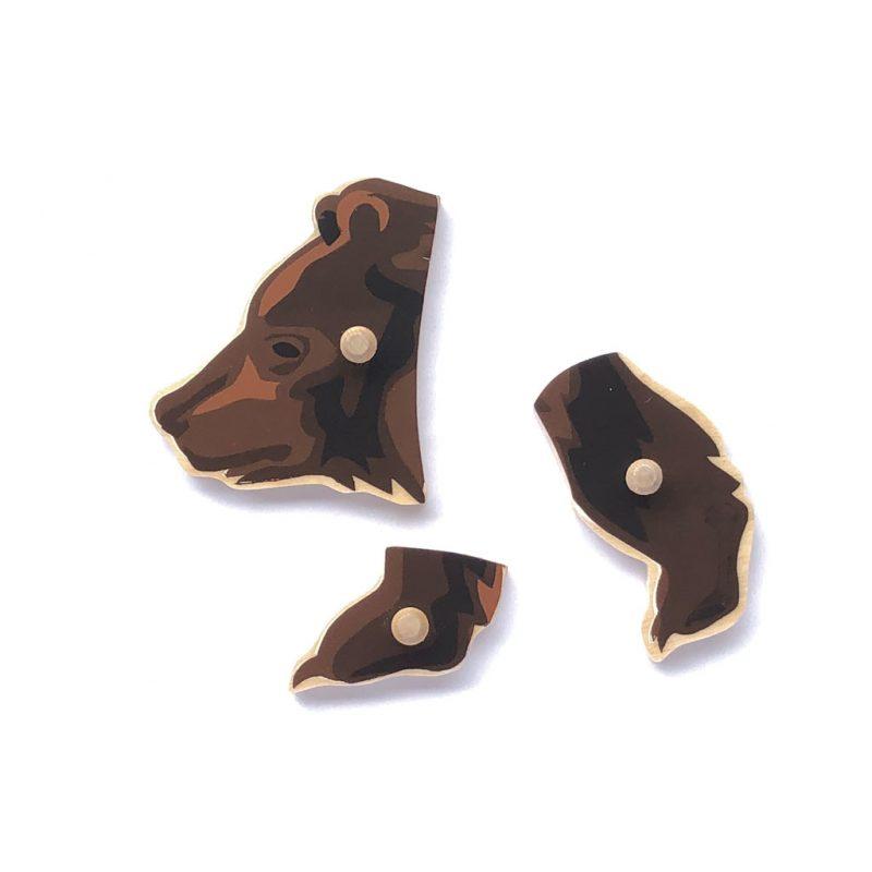 Wooden bear puzzle pieces..