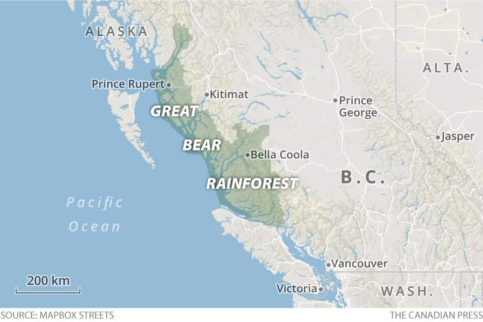 Map showing location of Great Bear Rainforest area.