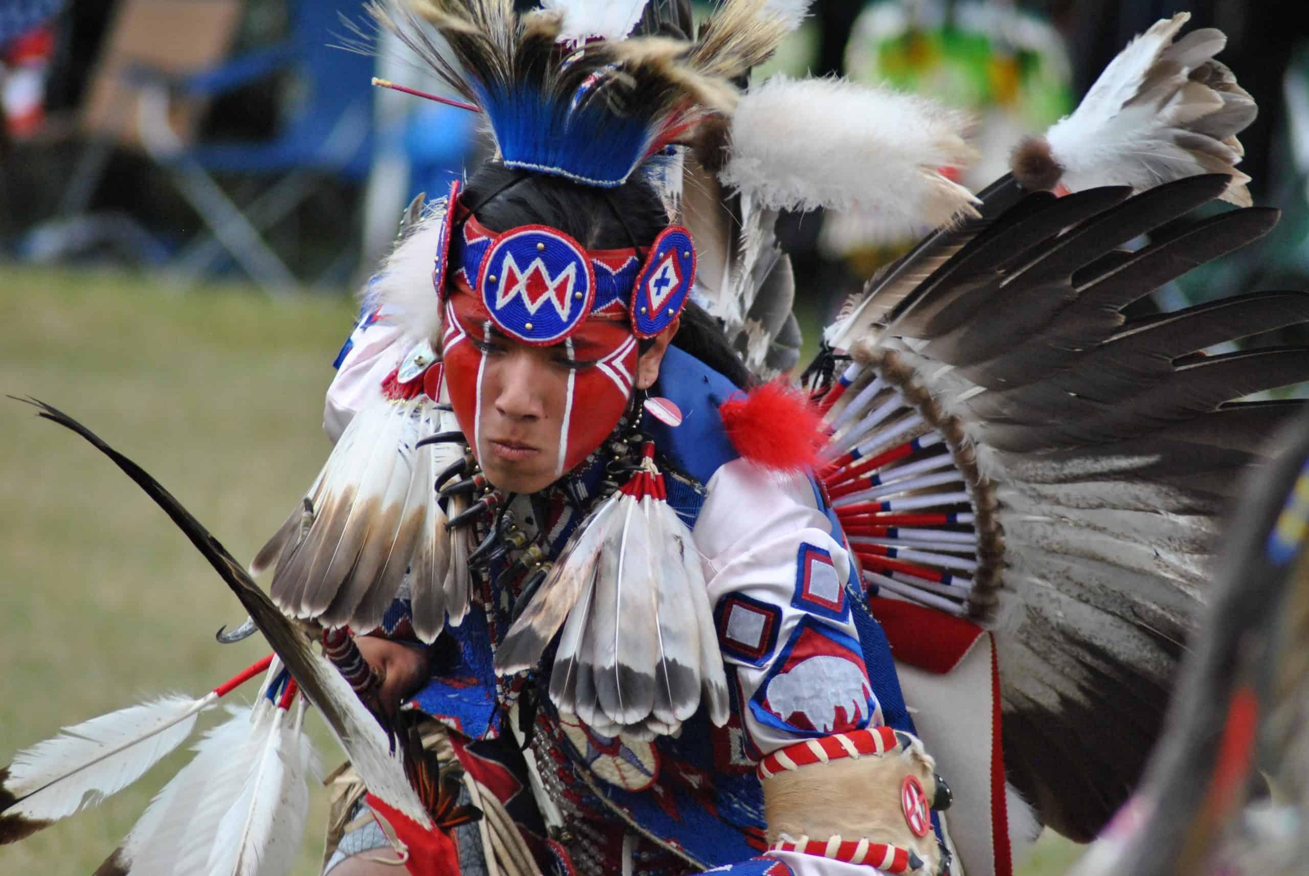 Native American pow wow dancer.