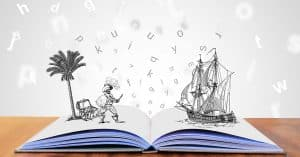 Open storybook with pirate ship and palm tree island.