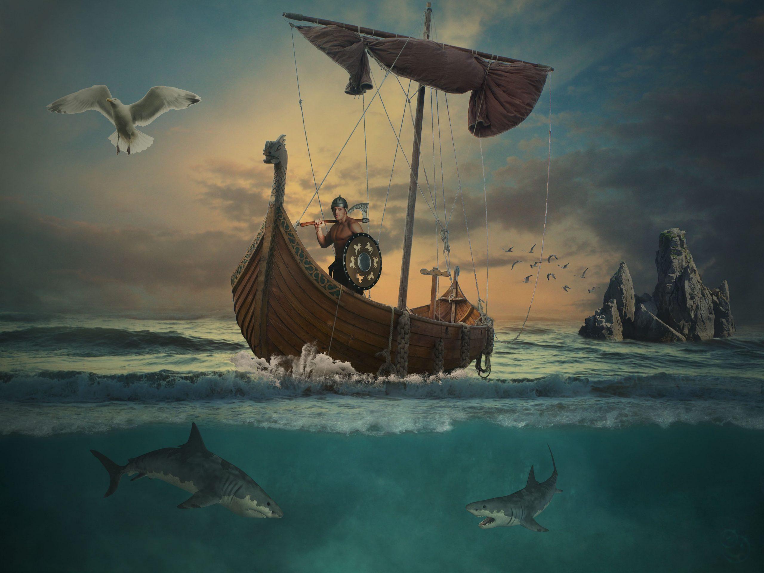 Viking ship in ocean scene.