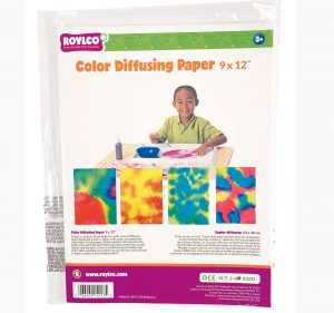 Colour diffusing paper sheets packaging.